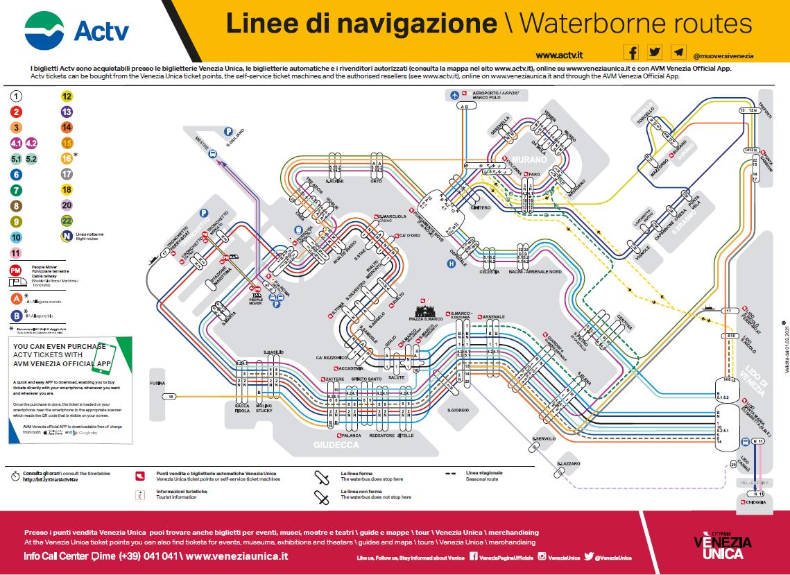 Cartina Vaporetti Venezia.Consulta Le Mappe Actv